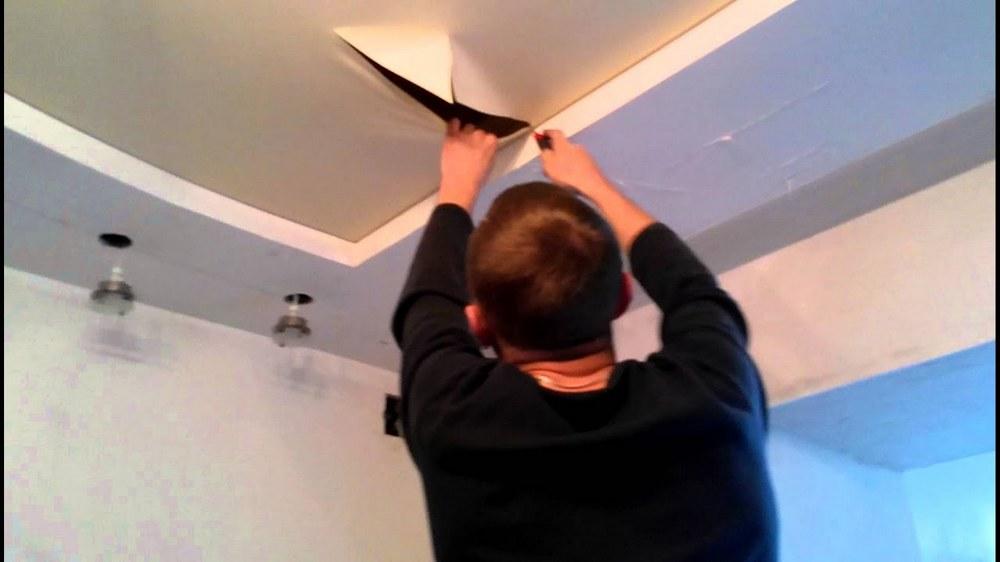 Что делать если повредили натяжной потолок